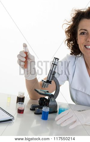 Female Medical, Scientific Researcher Or Woman Doctor Looking Camera