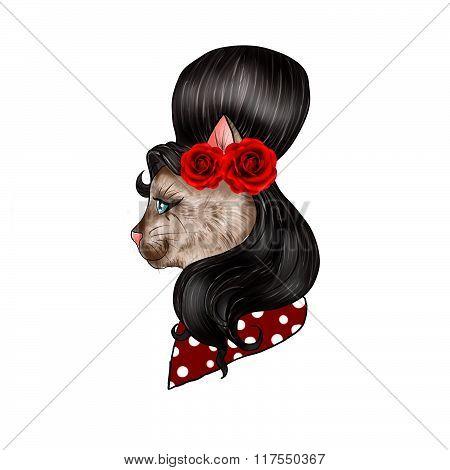 hand drawn illustration of  feline dressed as vintage pin up
