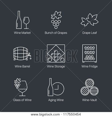Thin line wine icons