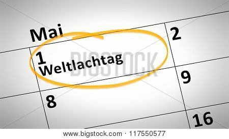 calendar detail shows World Laughter Day first of March in german language