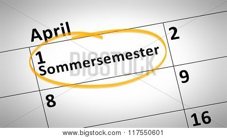 calendar detail shows summer semester 1st of april in german language