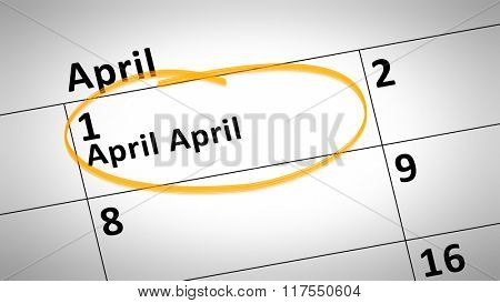 typical calendar detail shows 1st of April