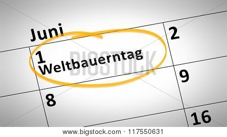 calendar detail shows world farmers day first of june in german language