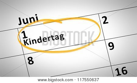 calendar detail shows children day first of june in german language