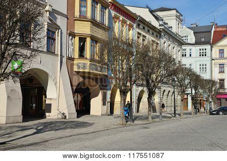 Cieszyn, Poland, February 06, 2016. Vintage townhouses on the City Market.