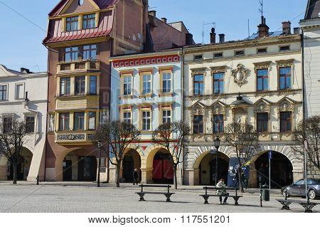 Cieszyn, Poland, February 06, 2016. Vintage townhouses on the City Square.