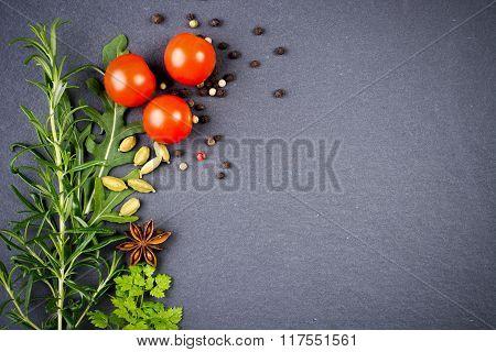 Seasonings On Black Slate Plate