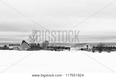 Abandoned old buildings in a farm yard