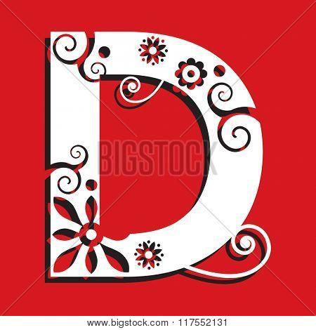 floral ABC, ornamental letter D