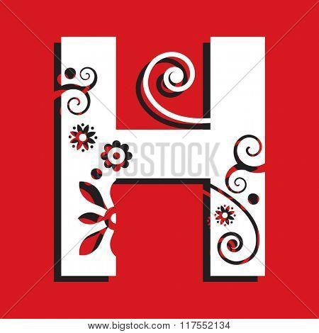 floral ABC, ornamental letter H