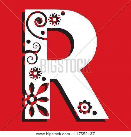 floral ABC, ornamental letter R