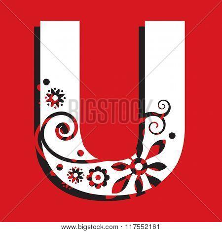 floral ABC, ornamental letter U