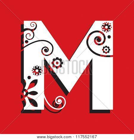 floral ABC, ornamental letter M