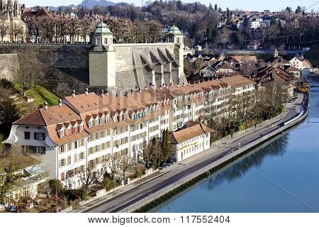 Bern, Muenster Platform By Aare River