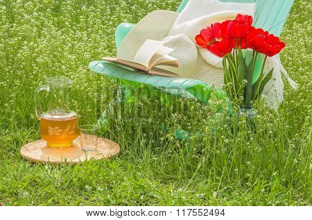 Relax In Blossoming Garden On A Sunny Day