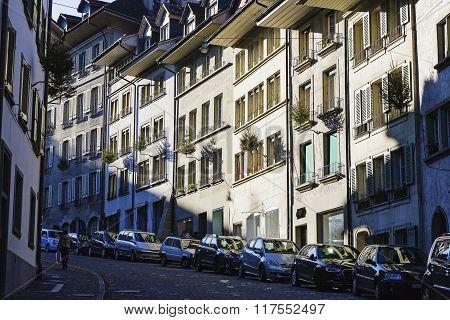 Bern, The Buildings Along The Narrow Street