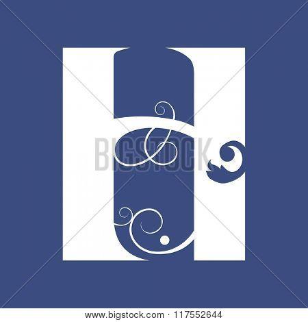 calligraphic letter H