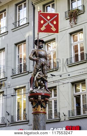 Musketeer Fountain In Bern, Switzerland