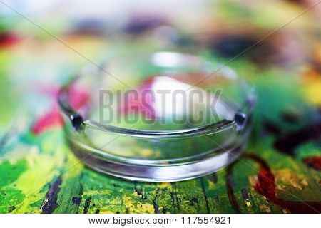 Abstract image of a glass ashtray - shallow depth of field