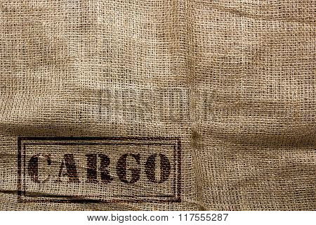 Stamp On The Sackcloth Of Cargo Transport Of Goods