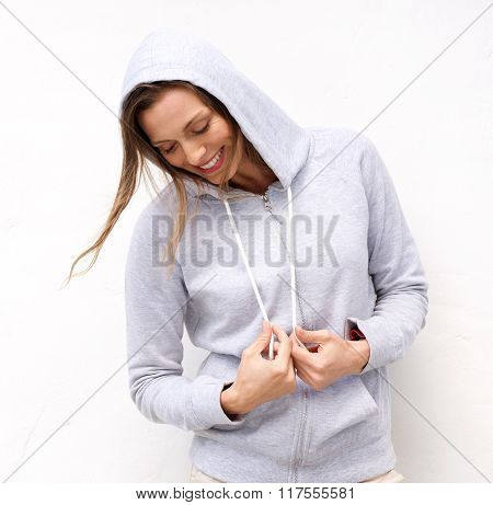 Cool Woman Laughing With Hood Sweatshirt