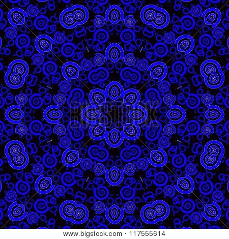 Seamless floral ornament dark blue purple black