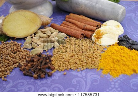 Indian Spices, Fresh And Dried On Purple Background, Copy Space