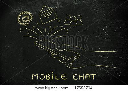 Email, Users & At Symbol Coming Out Of A Smartphone, Mobile Chat