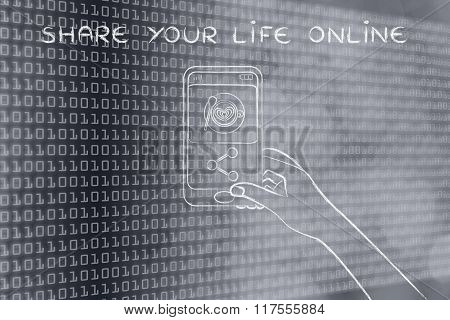 Smartphone User Uploading Photo On Social Media, Share Your Life Online