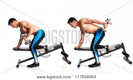 Tricep Dumbbell Kickback. Studio composite over white.