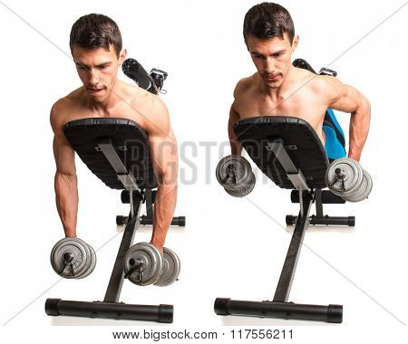 Dumbbell Incline Row. Studio composite over white.