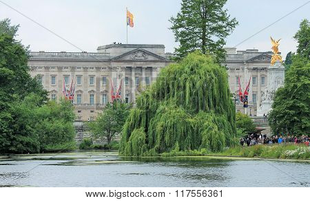 London UK-July 06 View of Buckingham Palace across Lake in St. James Park- July 06.2015 in London