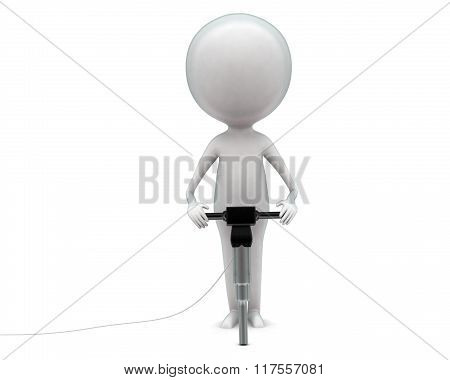 3D Man Holding A Drilling Machine In Hands Concept
