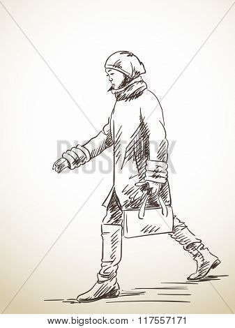 Sketch of walking woman, Hand drawn illustration
