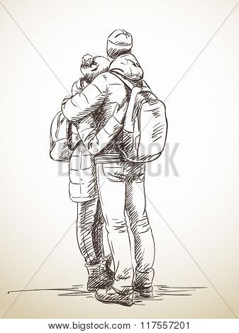 Sketch of standing hugging couple from back, Hand drawn illustration