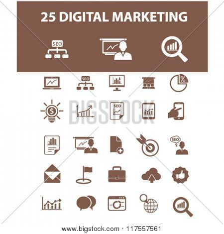 digital marketing, online advertising, video, business strategy icons, signs vector concept set for infographics, mobile, website, application