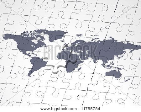 Jigsaw of the world with a piece over
