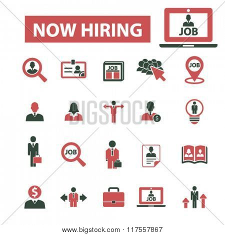 now hiring, career, human resources, job, cv icons set