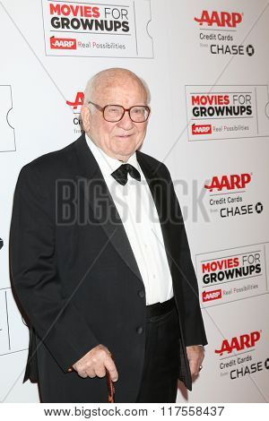 LOS ANGELES - FEB 8:  Ed Asner at the 15th Annual Movies For Grownups Awards at the Beverly Wilshire Hotel on February 8, 2016 in Beverly Hills, CA
