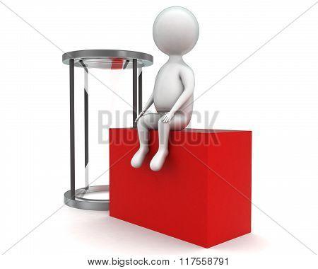 3D Man Sittinn On Red Box Near An Empty Glass Hour Concept