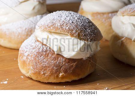 Swedish Semla (lenten Bun) Close Up