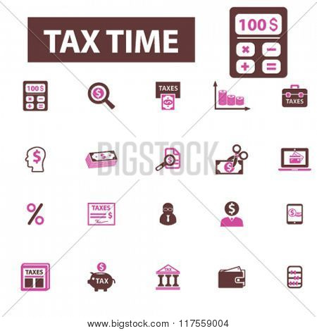 tax time, accounting, finance  icons, signs vector concept set for infographics, mobile, website, application