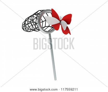 3D Butterfly Net Catcher Catching Butterfly Concept