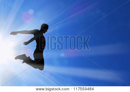 Active Male Jumps In Sun Rays