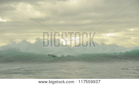 Powerful Ocean Waves Breaking. Wave On The Surface Of The Ocean.