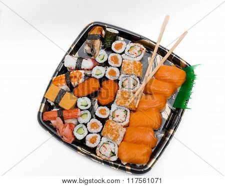 great amazing closeup view of  fresh cooked and appetizing sushi plate