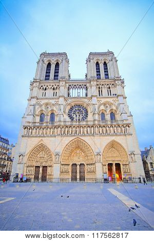 Paris, France, February 6, 2016: Notre Dame de Paris, one of the Paris simbols