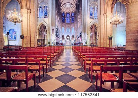 Paris, France, February 6, 2016: interior of Notre Dame de Paris, one of the Paris simbols