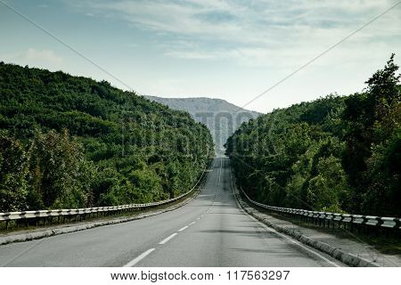 Mountains Tree Road In Crimea. Nature Landscape