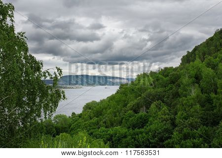 View From Forest Mountain To River. Beautiful Nature Landscape.